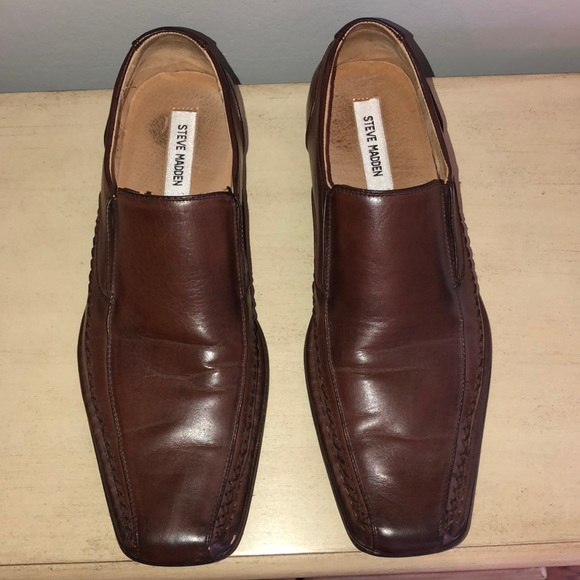 71f6803f284 Steve Madden men's brown leather slip ons